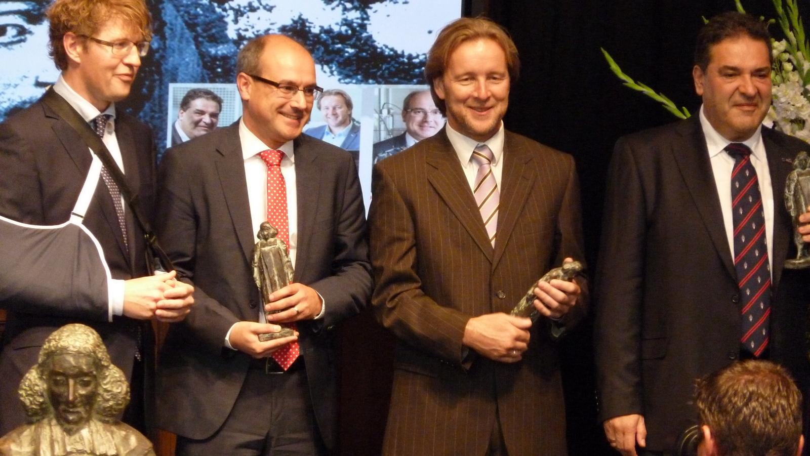 State Secretary for Education, Culture and Science Sander Dekker and NWO Spinoza laureates Bert Weckhuysen en Piek Vossen