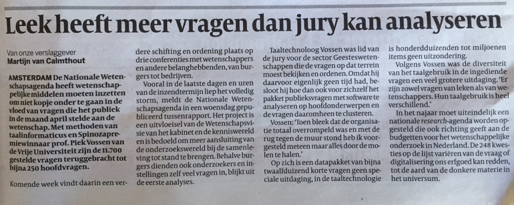 Volkskrant 11 juni 2015